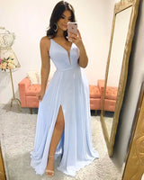Blue Sexy Slit Chiffon Long Prom Dress, Evening Dress  S6679
