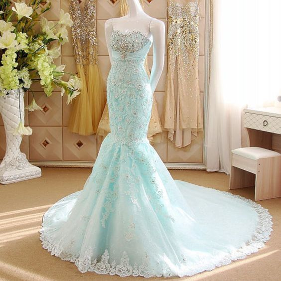 New Arrival Light Blue Prom Dresses Long Prom Dress Tulle Mermaid prom gowns Spring Teens Formal Gowns S6710