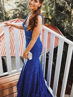 Modest V neck Lace Mermaid Prom Dress S11442