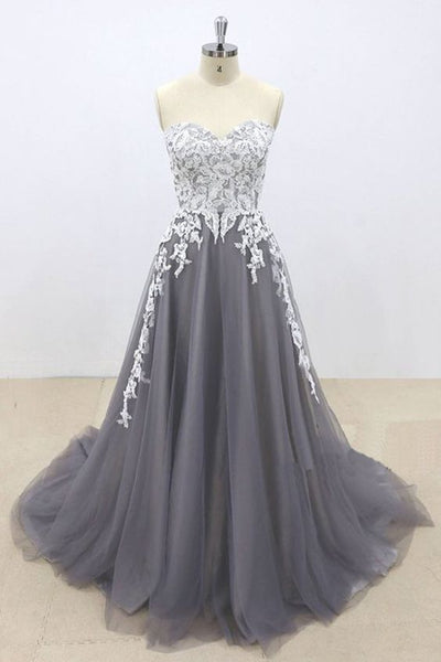 Dark Gray Tulle Ivory Lace Sweetheart Neckline A line Pageant Prom Dress, Evening Gown S6713