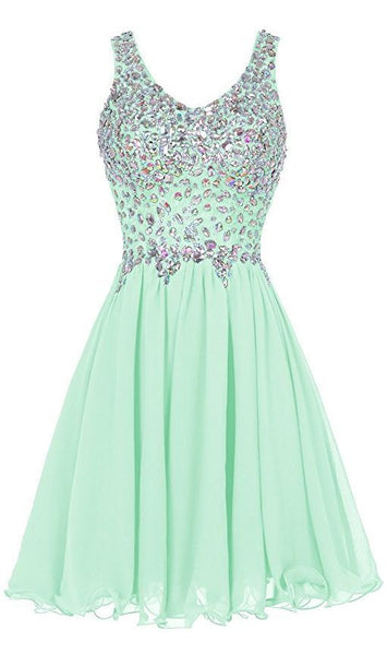 Mint Green Beaded Fashion Homecoming Dress S12171