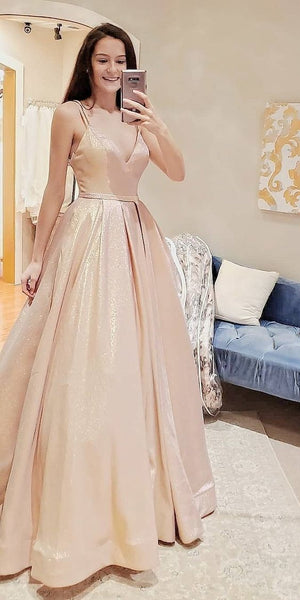 Gorgeous Straps Shiny Ball Gown Long Prom Dress S11676