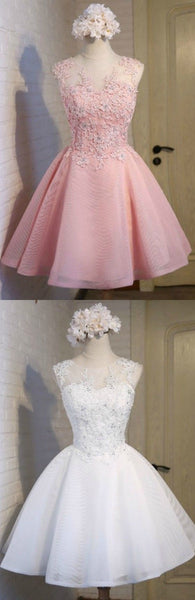 Pink/White Homecoming Dresses Short Tulle Beautiful Style With Appliques S11490