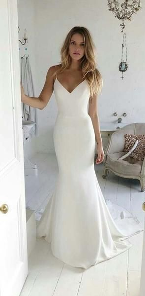 Charming V neck Spaghetti Straps Mermaid Prom Dresses S6681