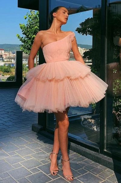 Sweety A Line One Shoulder Pink Homecoming Dresses with Ruffles S11004