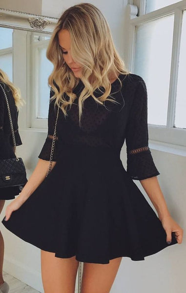 A-Line Jewel Half Sleeves Satin Little Black  Homecoming Dress S6937