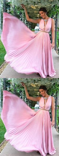 Pink Deep V Neck Strap Long Chiffon Prom Dresses Evening Dresses With Rhinestones  S6807