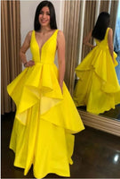 Charming V neck Yellow Satin Prom Dress Formal Evening Dress S11450