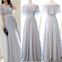 Grey the Off Shoulder Long Party Gowns, Grey Prom Dress S6758