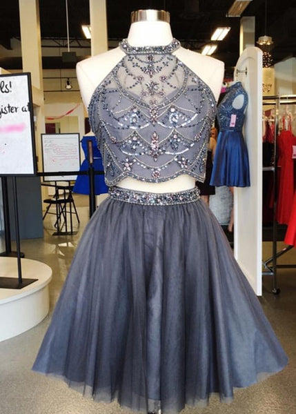 Shinning rhinestone strapless two pieces short homecoming dress, short gray tulle party dress S12410