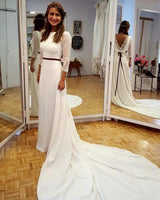 elegant long sleeves prom dresses with court train S11178