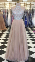 Stunning Champagne Tulle Strapless Floor Length Rhinestone Prom Dress S11866
