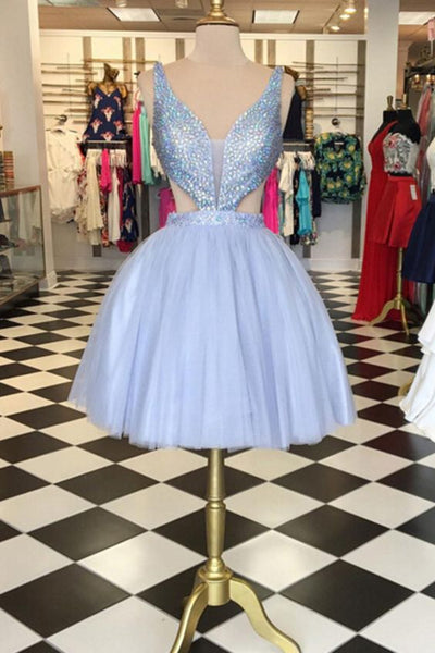Sparkling A-Line Sweetheart Short Lavender Homecoming Dress with Beaded S11790