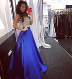 Charming Prom Dress, Sexy Crystal Beaded Royal Blue Sleeveless Prom Dresses  S11752