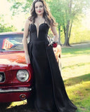 Simple Black Spaghetti Strap Satin Prom Dress with Pockets  S11545