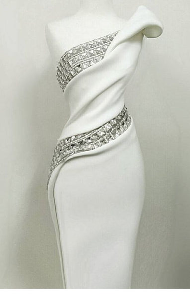 Glam white dress with diamonds floor length prom dress S7700
