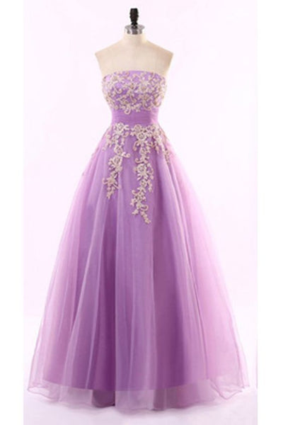 Lilac organza lace applique sweetheart long princess A-line prom dresses evening dress S6709