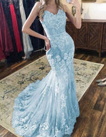 Sweetheart Mermaid Blue Prom Dresses with Appliques Lace S6644