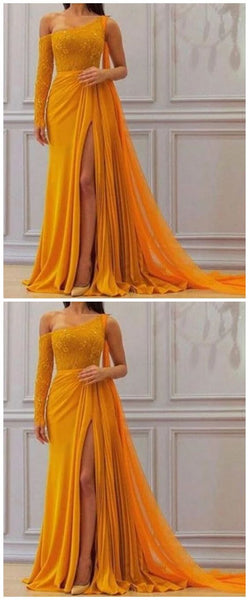 A Line Yellow One Long Sleeve Chiffon Prom Dresses, High Slit Formal Dresses S7068