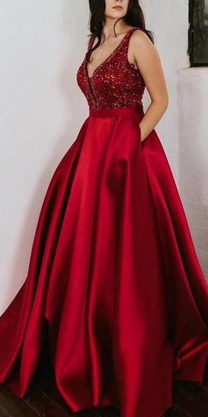 V-Neck Red Beaded Prom Dress  S6702
