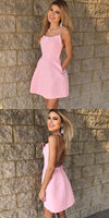 A-Line Spaghetti Straps Pink Homecoming Dresses With Pockets S11001