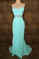 Elegant Blue Long Chiffon Sweetheart Prom Dresses S6927