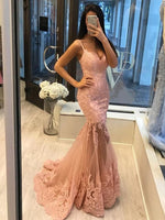 Sexy Lace Appliques Mermaid Prom Dress, Sparkly Party Gowns S11771