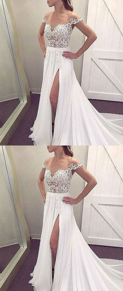 White off should chiffon lace long prom dress, white evening dress S8667