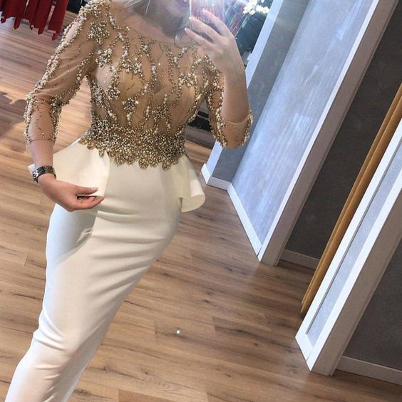 white prom dresses crew neckline pearls beading sequins sheath long sleeve evening dresses S12351