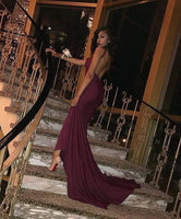 Burgundy Open Back Long Prom Dress With Train S11110