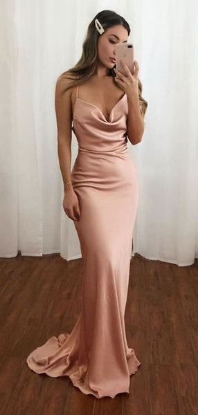 Spaghetti Long Mermaid Elastic Satin Prom Dresses, Simple Long Prom Dresses  S11976