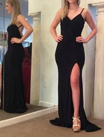 Black Mermaid Long Prom Dress With Slit Custom-made School Dance Dress  S6645