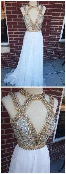 Cute Prom Dress, Long Chiffon Deep V-Neck Gold Prom Dresses Beaded Formal Evening Ball Gowns  S6813