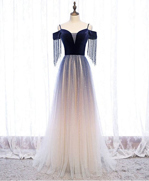 Cute Blue tulle long prom dress blue tulle formal dress S12060
