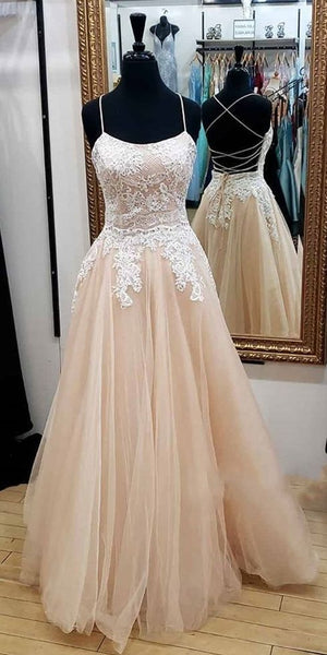 strappy champagne and white lace appliques tulle prom dress with lace up back S11691