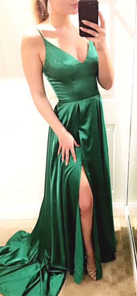 Simple Straps A-line Green Long Prom Dress  S11766