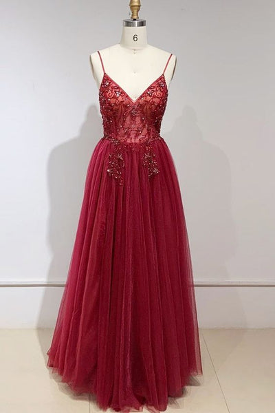 Elegant V Neck Red Long Prom Dress S12043