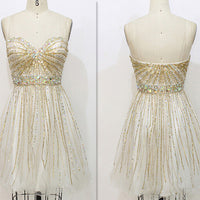 Gold A-line Sweetheart Short Mini Tulle Homecoming Dress S11048