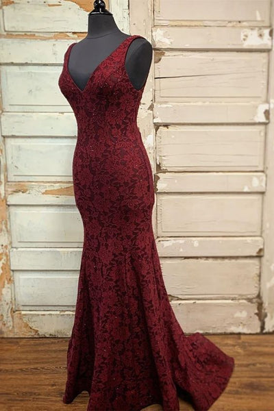 Mermaid Burgundy Lace Long Prom Dress S11407