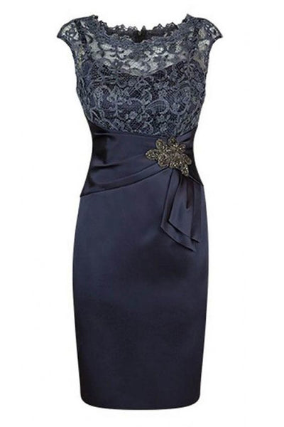 Short Sheath Navy Mother of Bride Dress with Lace Beading Homecoming Dress S10932