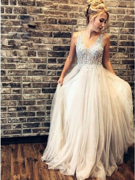 Hot A-line Grey V-neck Sleeveless Prom Dress with Beaded  S11558