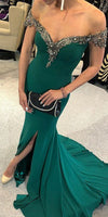 Off Shoulder Mermaid Jersey Slit Beaded Backless Prom Dress,  S6665