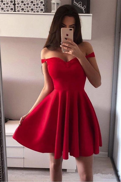 Off the Shoulder Red Homecoming Dresses S12168