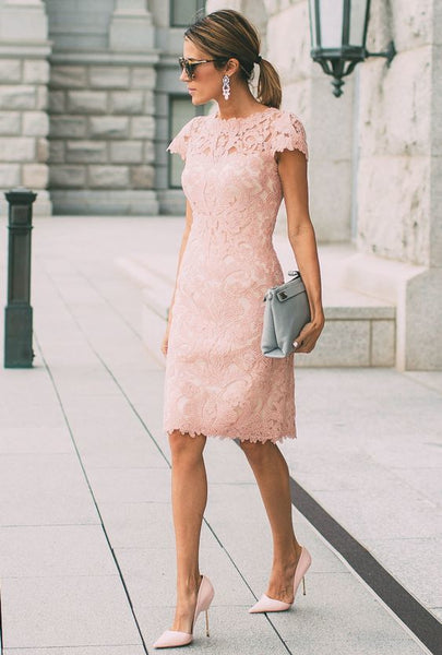 Beauty Short Pink Lace Casual Dress , Short Prom Dress S8652