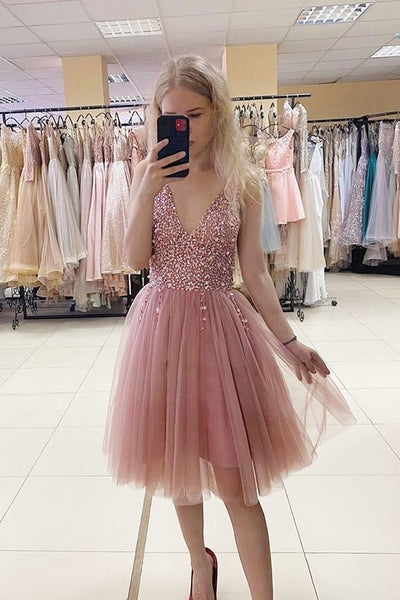 blush pink A-line short tulle homecoming dress  S13067