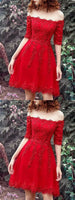Elegant A Line Off the Shoulder Half Sleeves Beaded Red Lace Short Homecoming Dresses  S6992
