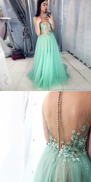 A-Line Illusion Round Neck Mint Long Prom Dress with Appliques S7236