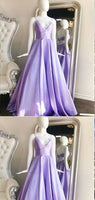 A-line Spaghetti Straps Purple Satin Long Prom Dresses, S6928