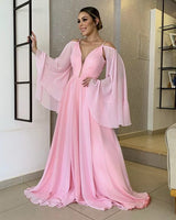 blush pink chiffon cold sleeves prom dresses  S11589