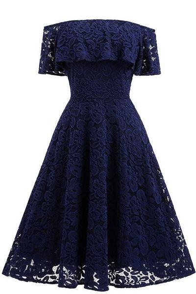 Dark Navy Lace A-line Homecoming Dress S11250